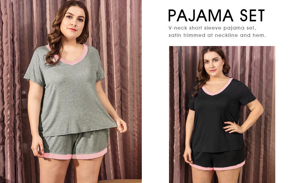 aae66a2694c INVOLAND Womens Plus Size Sleepwear V-Neck Short Sleeve Pajama Set  Nightwear Short Sets Loungewear for ...