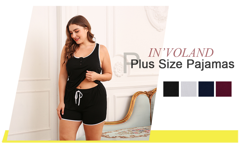 026b227130 IN VOLAND Lightweight Pajamas for Women Plus Size Sleeveless Top ...