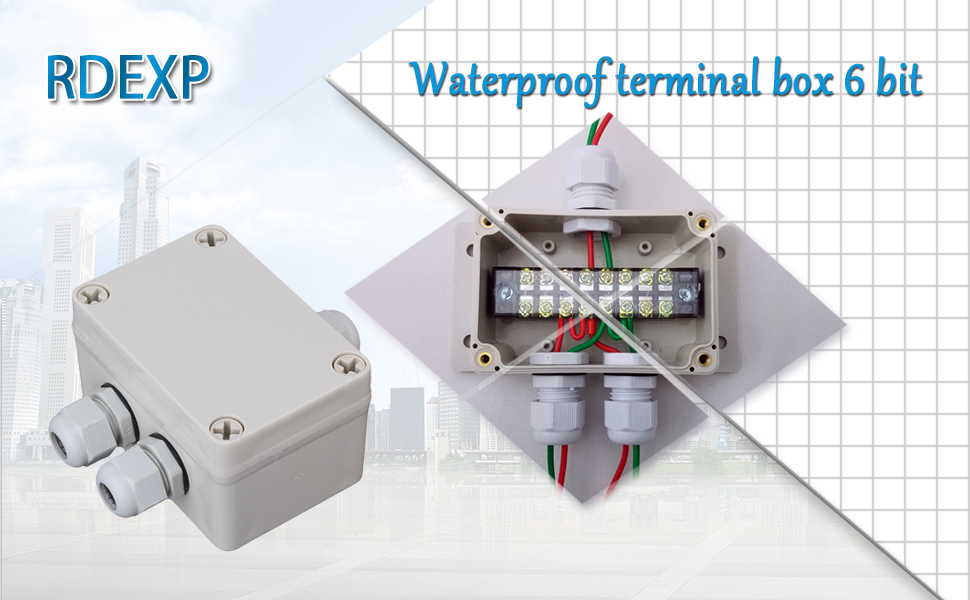 White Gray Plastic Waterproof 6 Position Terminals Electric Junction ...