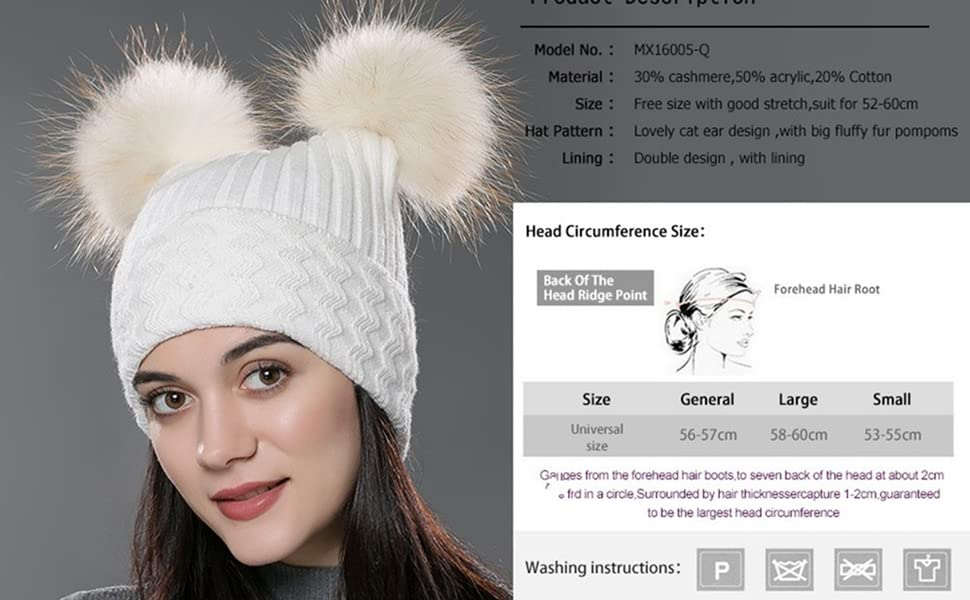6b3762a6e URSFUR Unisex Autumn Knit Wool Beanie Hat Women Winter Hat with Fur Ball  Pom Pom