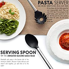 kitchen utensils, pasta server, serving spoon