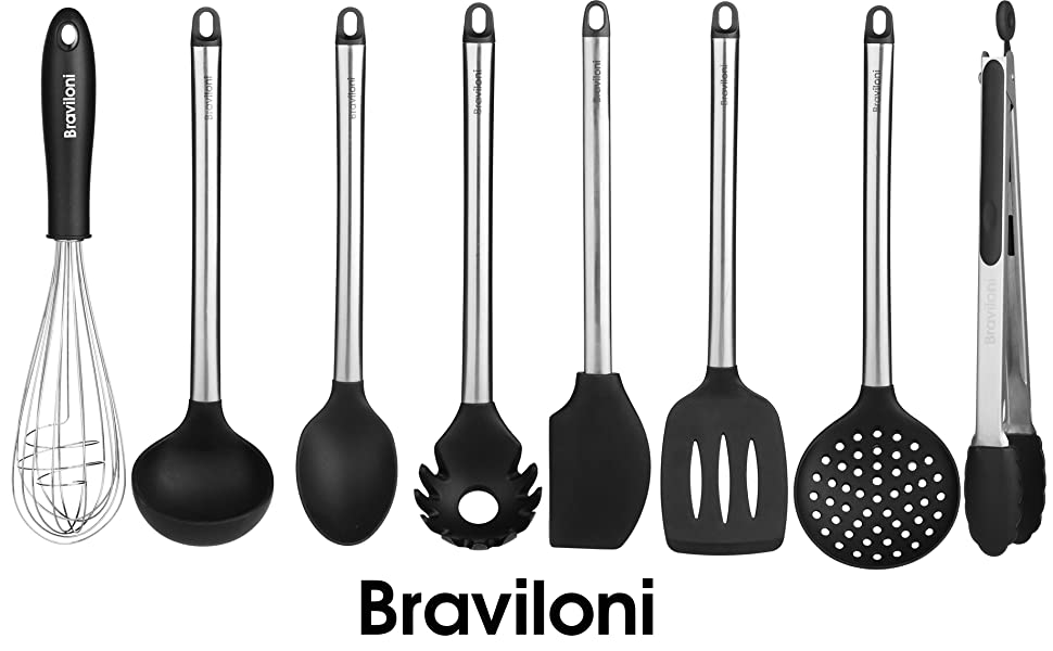 kitchen utensil set, silicone spatulas, for pots and pans