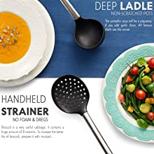 kitchen utensils, deep ladle, handheld strainer