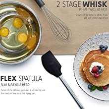 kitchen utensil set, 2 stage whisk, flex spatula
