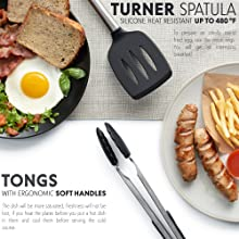 kitchen utensil set, turner spatula, tongs