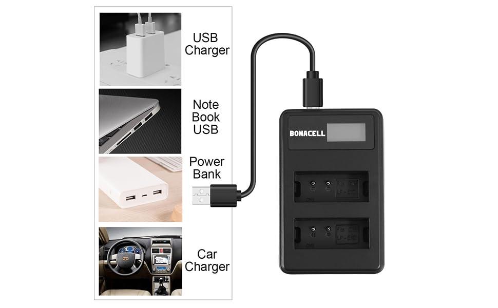 Amazon.com: bonacell 2-Pack de LP-E10 baterías y LCD de ...