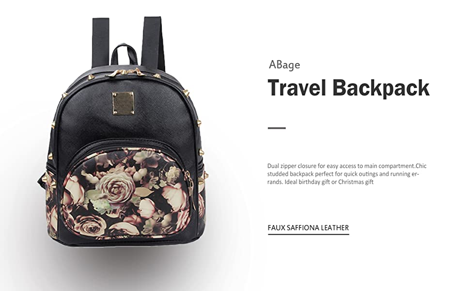 c70c6e4acfb4 Amazon.com  ABage Mini Backpack Casual Faux Leather Studded Floral ...