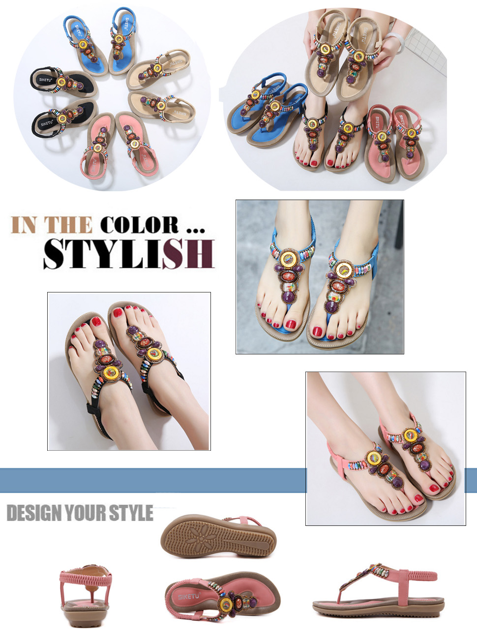750f95c30e1 Women s Gemstone Casual Sandals Summer Shoes