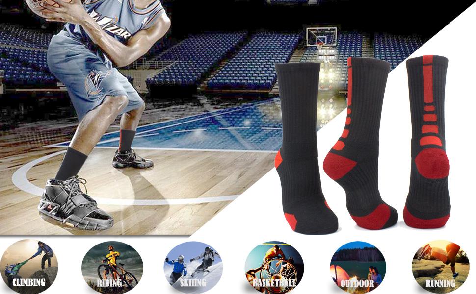 f73f0700ae214 JIYE Elite Basketball Socks 5 Pack Dri-Fit Athletic Crew Sport for Boy Girl  Men Women