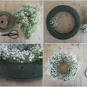 babies breath wreath DIY flowers garland artificial facke silk baby's brath