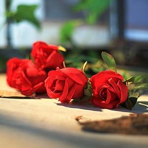 artificial flowers roses bunch bouquet bundle centerpieces home in vase reception baby shower decor