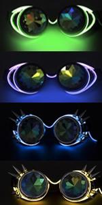Amazon.com: Kaleidoscope Rave - Gafas steampunk con lente de ...