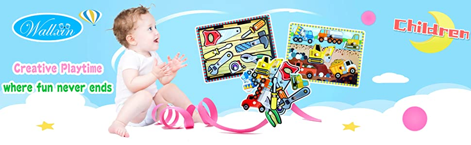 0e21022bd03a Amazon.com  Wooden Peg Puzzles for Toddler 2 3 4 5 Year Old (Set of ...