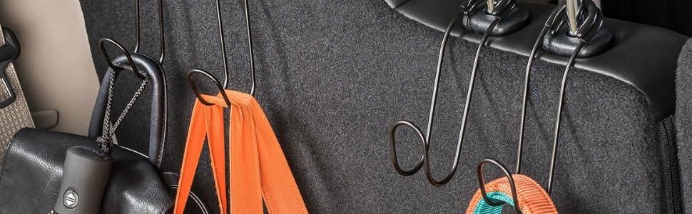 universal car headrest hanger for coats, purse, grocery bags