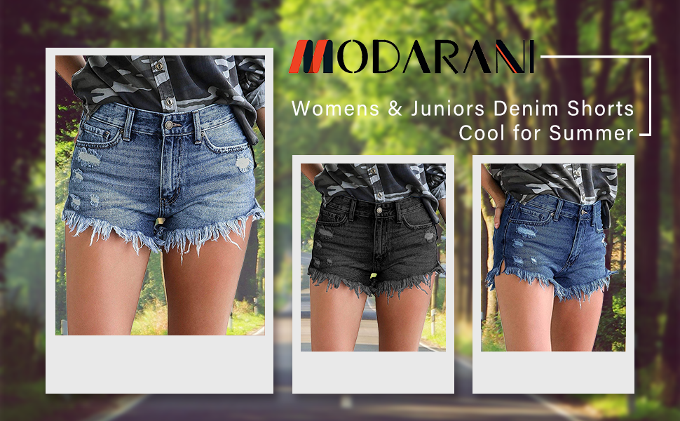 MODARANI Denim Shorts for Women Mid Rise Jeans Ripped Frayed Raw Hem Hot Short Pants Comfy Stretchy