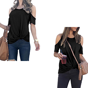 MODARANI COLD SHOULDER TOPS FOR WOMEN KNOT TWISTED CASUAL SOLID COLOR SHIRTS TUNIC TOPS COMFY LOOSE