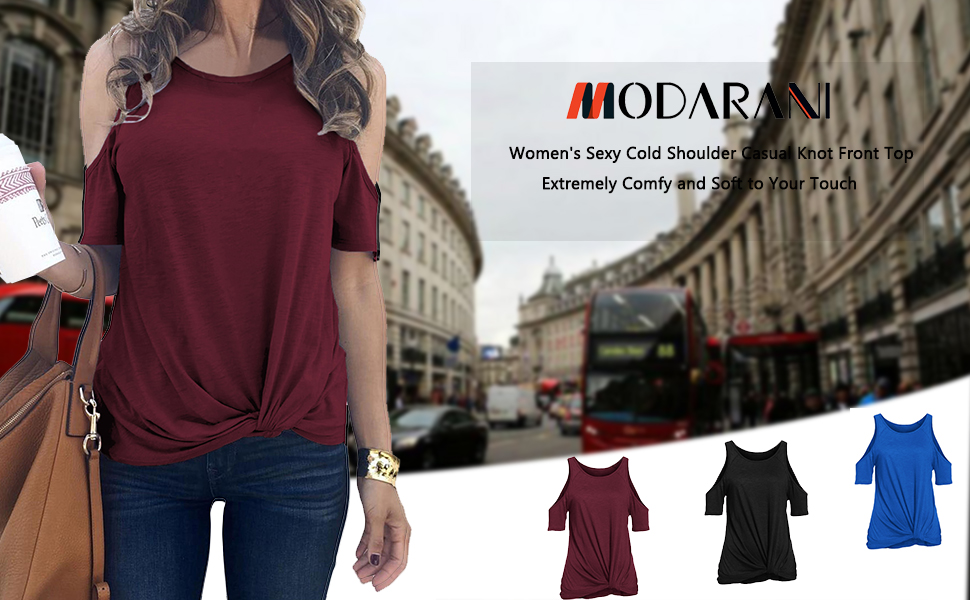 MODARANI FRONT KNOT TUNIC TOPS FOR WOMEN CASUAL COLD SHOULDER SHIRTS SOLID COLOR LOOSE FITTING
