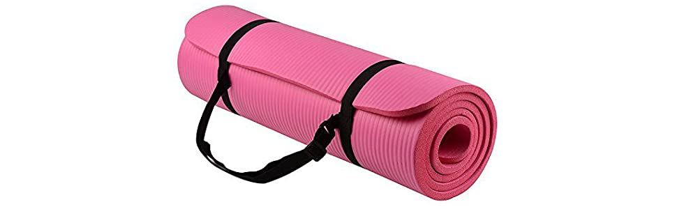 NaturallyTakeCare NTC All-Purpose Extra Thick High Density Anti-Tear Exercise Yoga Mat with Carrying Strap Pink