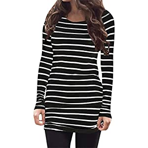 Myobe Cotton Long Sleeve Tunic Tops for Women White and Black Casual Basic Striped  Shirt 9a6c3584c