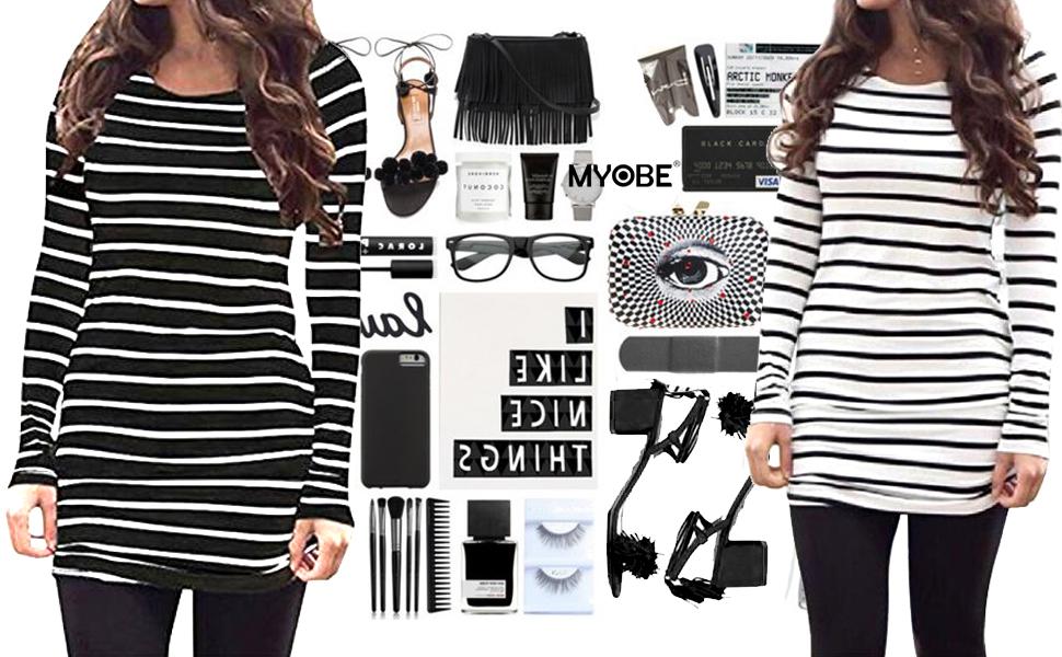 Myobe Women S Black And White Striped Tops Basic Long Sleeve Striped