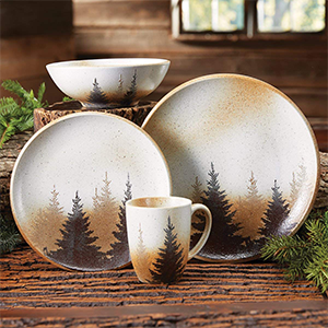 plates set dinnerware forest