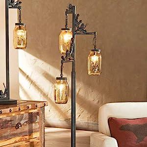 floor cabin lodge farmhouse mason jar lamp rustic decor iron steel old pine cone forest decor