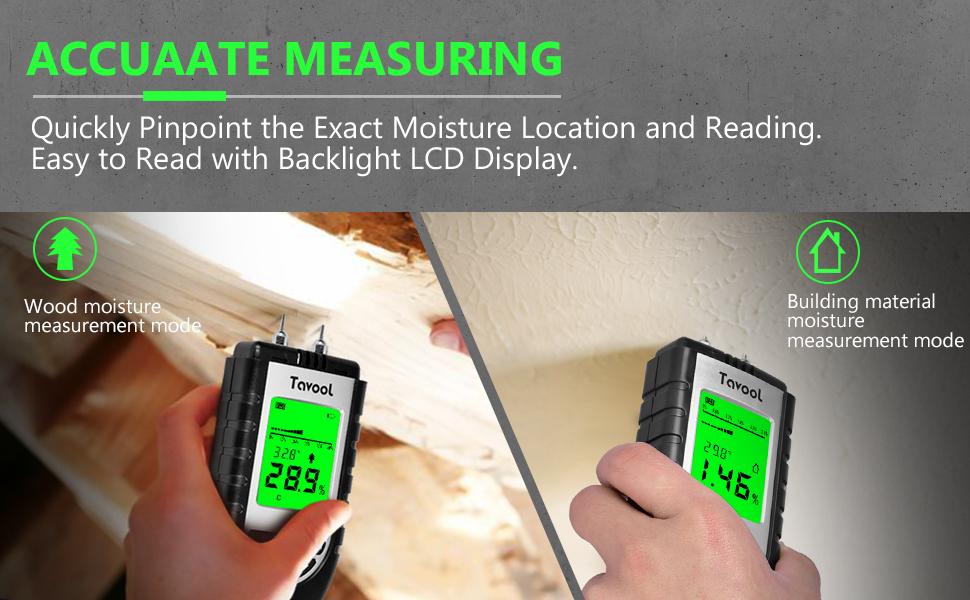 Wood Moisture Meter - Digital Moisture Detector Moisture Tester, Pin-Type Water Leak Detector Damp Tester Dampness Meter for Wood Building Material Firewood Walls Paper Floor (Silver)
