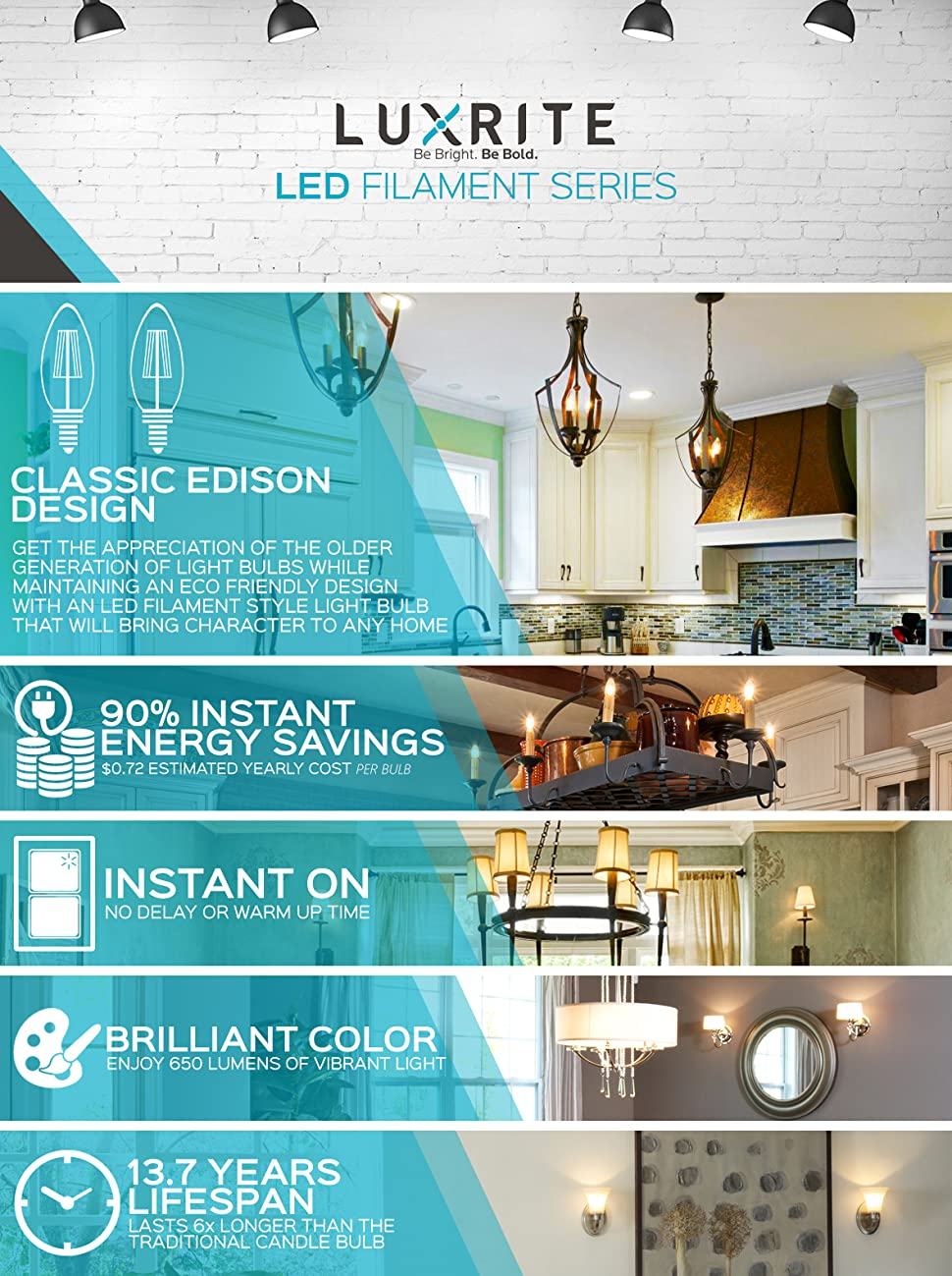 Luxrite E12 LED Filament Bulb, 6W, 5000K Bright White, 650 Lumens ...