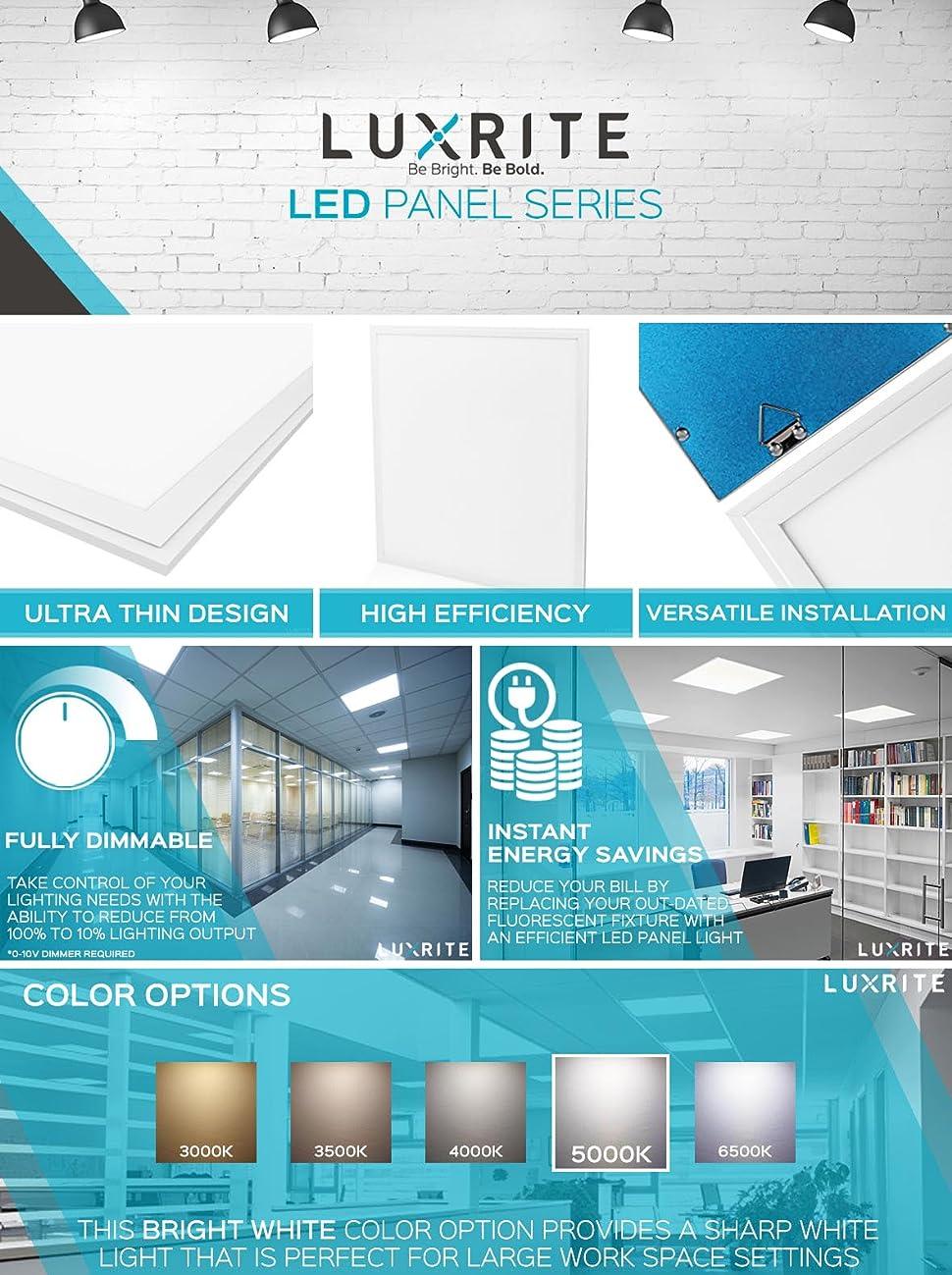 Luxrite LED Light Panel, 2x2 FT, 45W, 5000K Bright White, 5150 ...