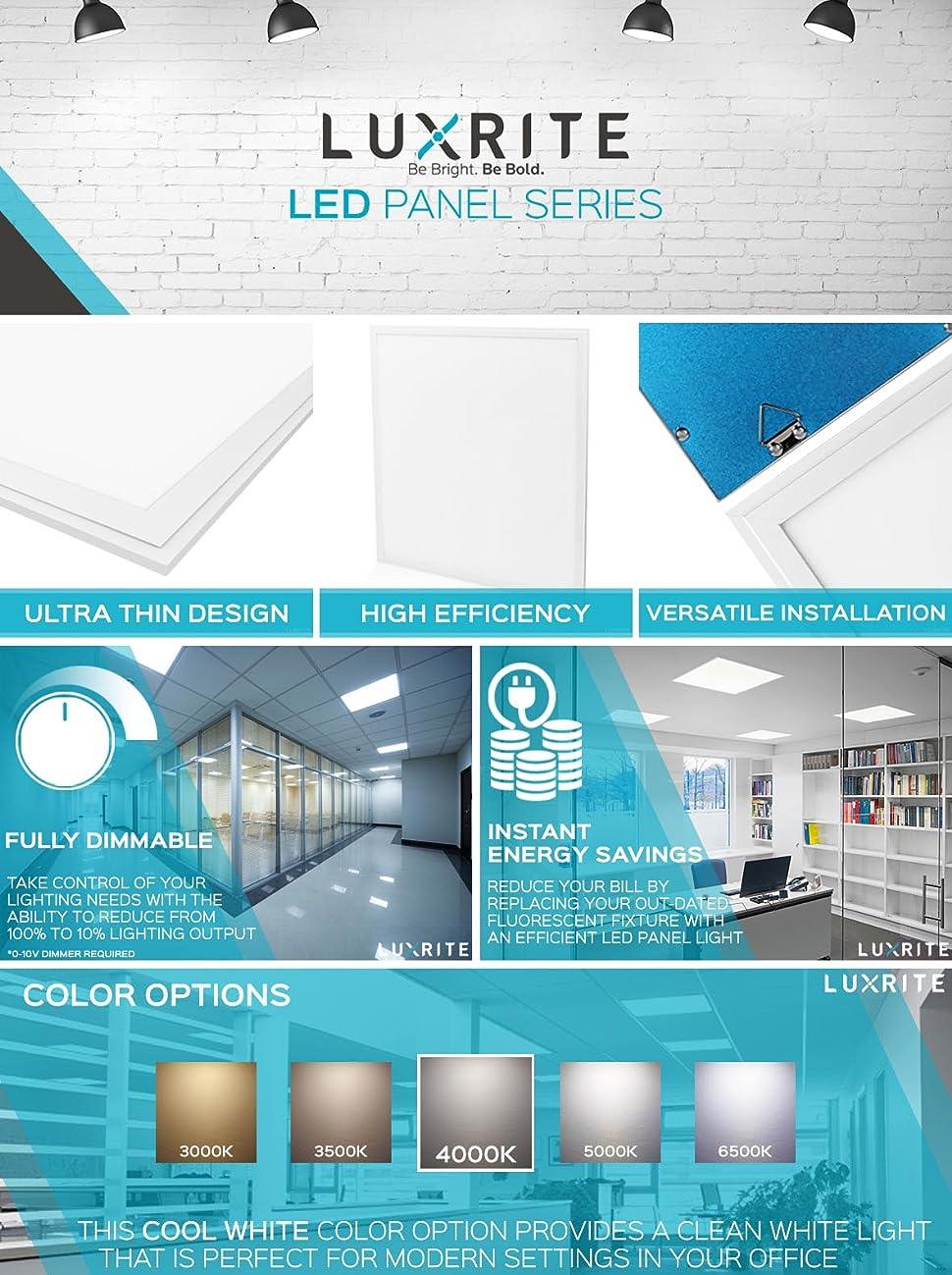 4 Pack 2x2 Ft Led Panel Light Luxrite 45w 4000k Cool