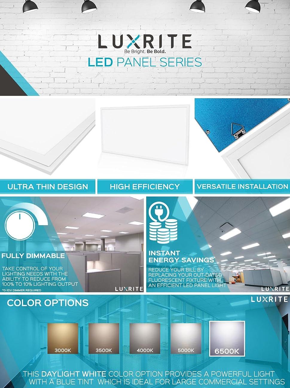 4 Pack 2x4 Ft Led Panel Light Luxrite 72w 6500k