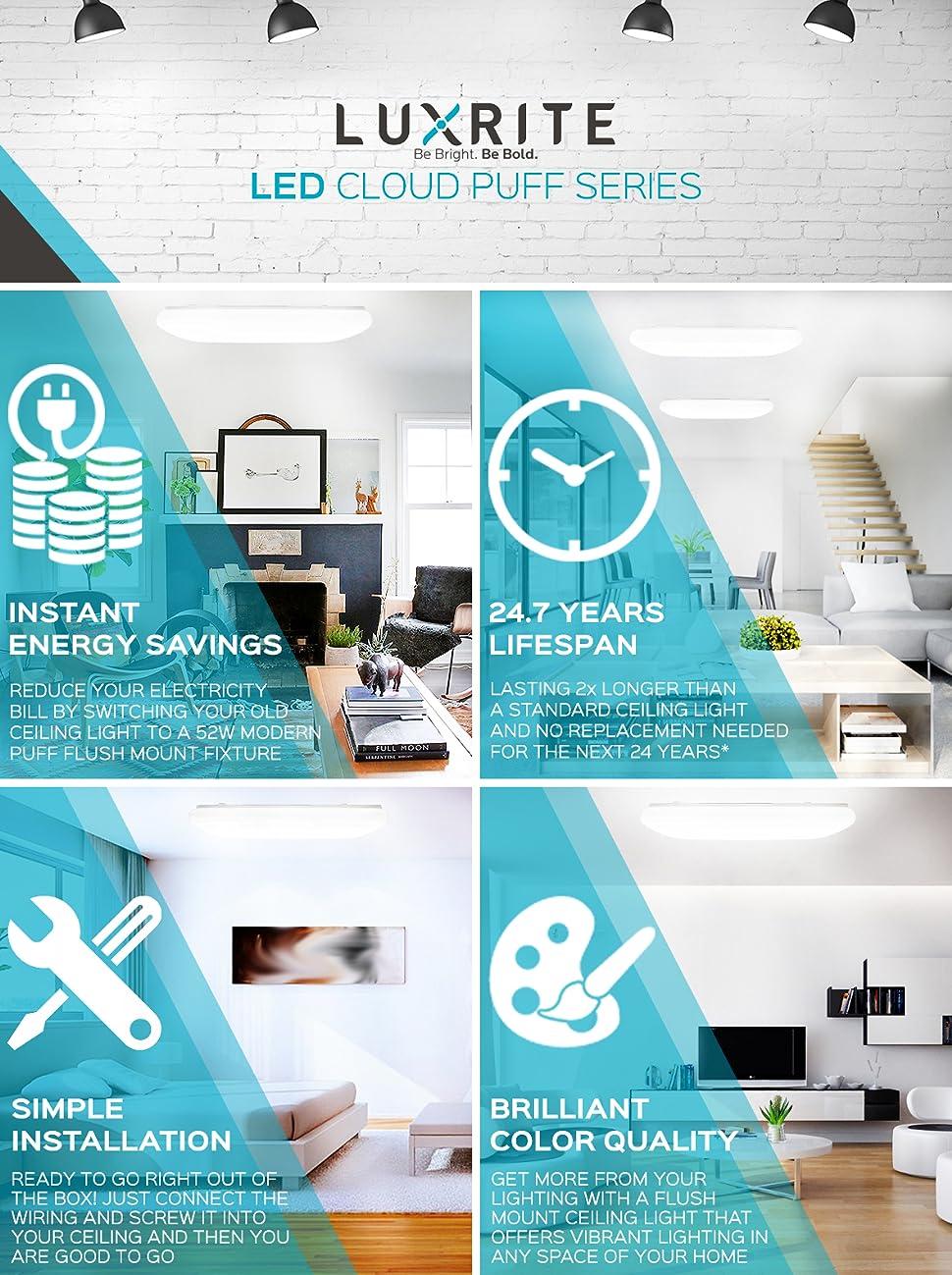 Luxrite 4FT Puff LED Flush Mount Ceiling Light Fixture, 52W, 5000K ...