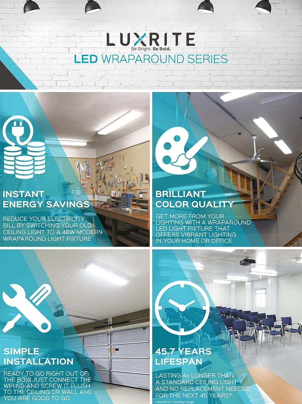 Luxrite 4ft Led Shop Lights For Garage Wrap Around 5040 Lumens Wiring In A Home Wraparound Light Series