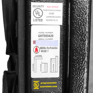 UL Burglary Rating, 60 Minute Fire Test and UL Listed Electronic Lock Labels