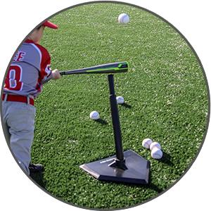 The PowerNet Tee Ball Batting Tee stem flexes to resist tip-over.