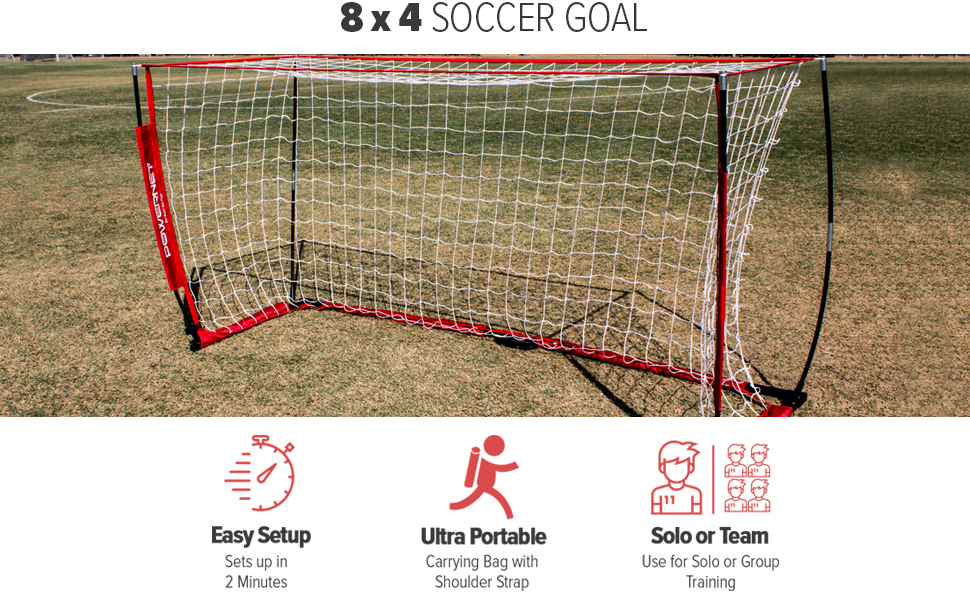 PowerNet 8x4 Soccer Goal is portable and sets up in minutes. Play a game in your backyard!