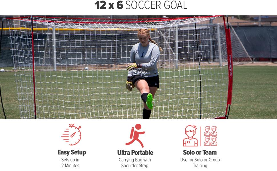 Powernet Framed Soccer Goals 12x6 for home or team practice.