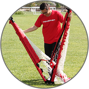 Powernet Soccer Goals feature telescoping legs and push button frame locks.