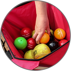 PowerNet weighted training balls in a caddy