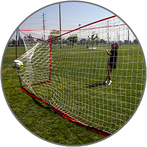 Take your shots on the Powernet Soccer Goal! It's designed to be flexible and sturdy.