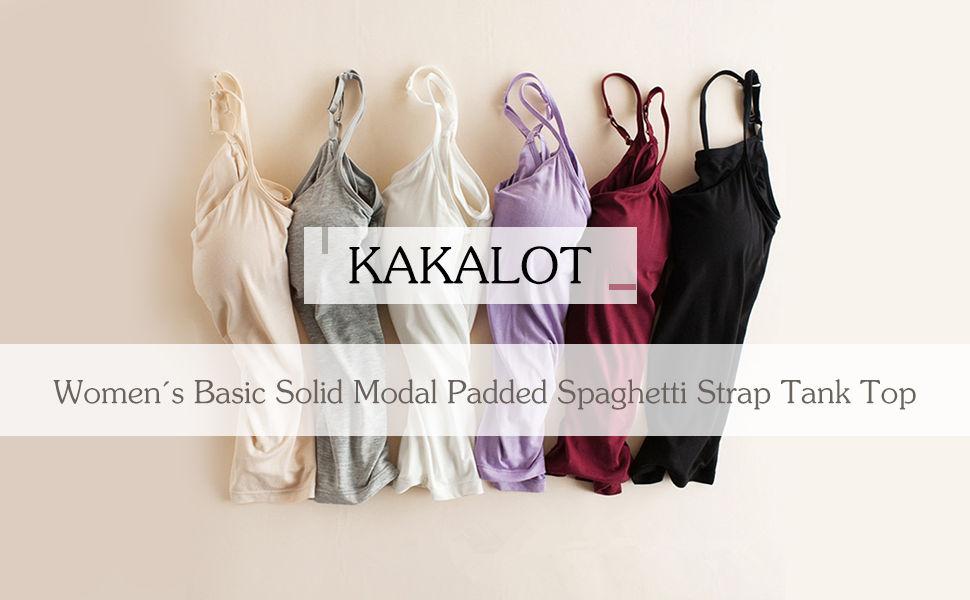 ed2ca11bfd091 KAKALOT Women s Basic Solid Modal Padded Spaghetti Strap Tank Top