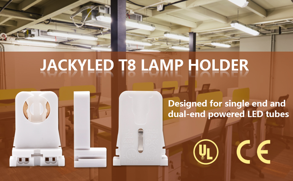 Non-shunted Turn Type T8 Lamp Holder JACKYLED 50pk UL Socket Tombstone for LED