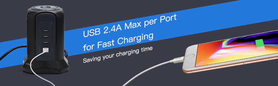 2.4A USB charging speed with cable