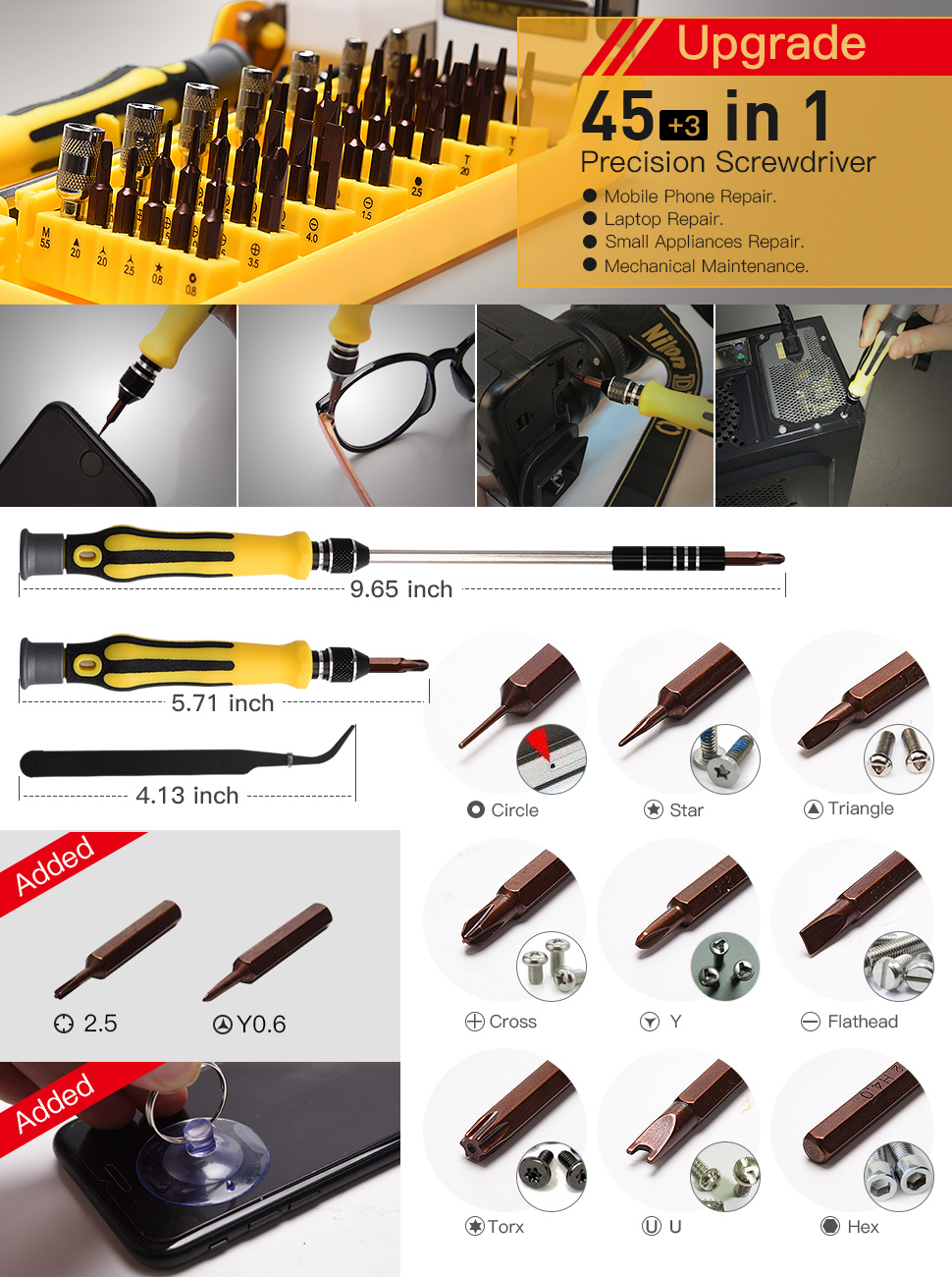 upgrade jackyled 45 in 1 precision screwdriver tool kit compact
