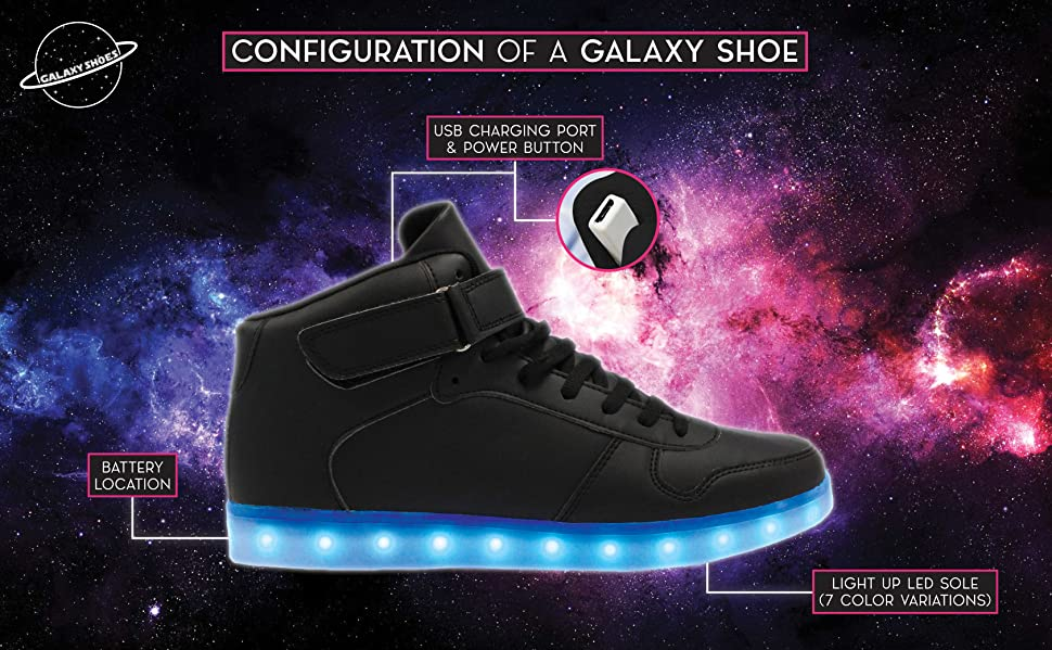 f139d5c32908 Galaxy LED Shoes Light Up Men s High Top