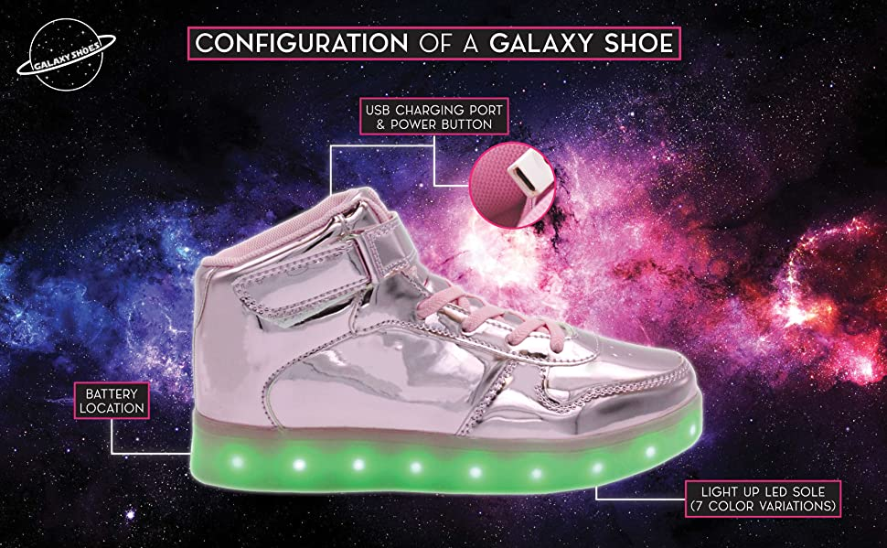 95446609525d4 Galaxy LED Shoes Light Up USB Charging High Top Lace & Strap Women's  Sneakers (Black) 9