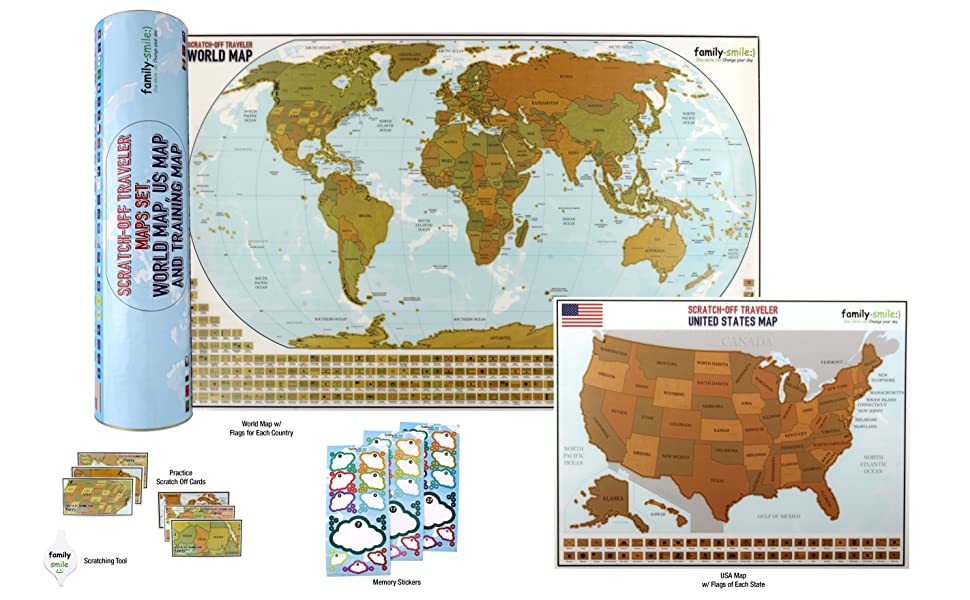 Amazon map scratch off world 12 x 27 and usa 13 x 17 maps 2 in educational log map set for adults and kids alike your scratch off map set lets you and your kids learn about the world in a fun and interactive way gumiabroncs Images