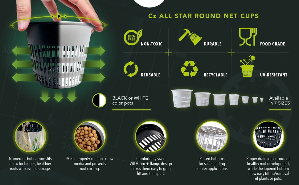clay balls, hydro garden, cz garden, supply bucket, net planter, net for plants hydroponic cups