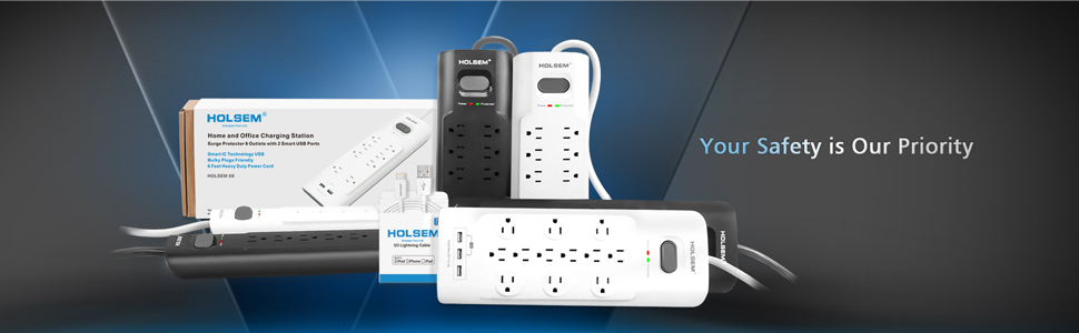 White CECOMINOD082845 5V//3.1A and 6 Heavy Duty Extension Cord HOLSEM 12 Outlets Surge Protector Power Strip with 3 Smart USB Charging Ports