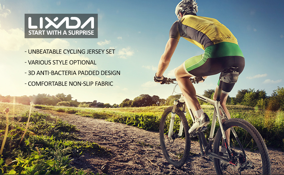 aacf8b24fb1 Amazon.com: lixada Men's Cycling Jersey Set Bicycle Short Sleeve Set ...